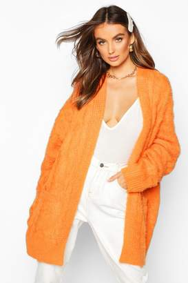 boohoo Oversized Cable Knit Fluffy Boyfriend Cardigan