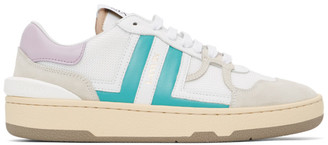 Lanvin White and Pink Mesh Clay Low Sneakers