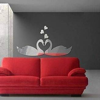 Walplus Crystal Rose Pattern Coffee Cup Mirror Wall Art Murals Nursery Office Home Decoration