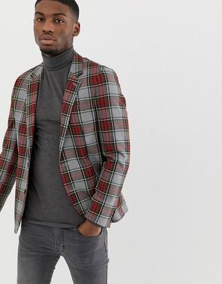 Asos DESIGN slim blazer in gray with plaid check