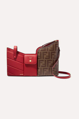 Fendi Embossed Leather And Printed Coated-canvas Shoulder Bag - Red