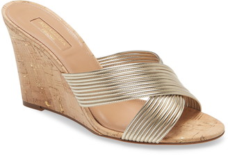 Aquazzura Perugia Metallic Wedge Slide Sandal