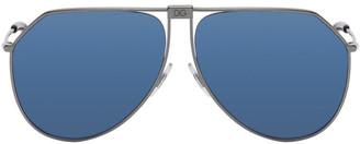Dolce & Gabbana Black and Blue Mirror Slim Aviator Sunglasses