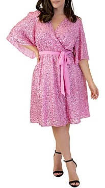 Maree Pour Toi Plus Sequin Faux-Wrap Dress