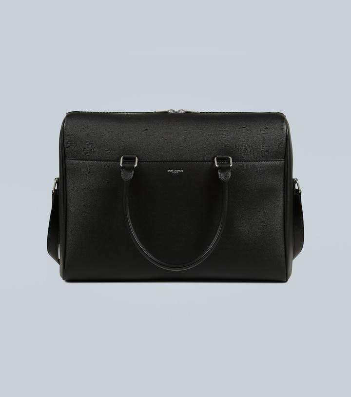 Saint Laurent Duffle embossed-leather briefcase