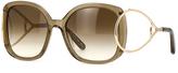 Chloé Brown & Gold Oversize Sunglasses