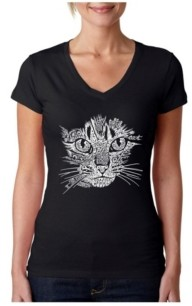 LA Pop Art Women's Word Art V-Neck T-Shirt - Cat Face