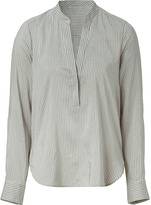 Vince Brown and Beige Striped Blouse