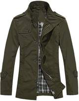 uxcell Allegra K Men Zip Closure Long Sleeve Pockets Design Trench Coat L