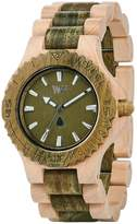 WeWood Men's Date DATE-BEIGE/ARMY Beige Wood Analog Quartz Watch with Green Dial