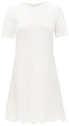 Goat Jolie Scalloped-hem Wool-crepe Dress - White