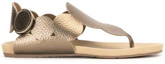 Pedro Garcia Metallic-Effect Touch-Strap Sandals