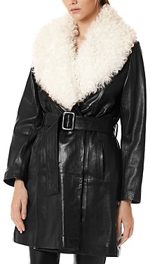 Nour Hammour Out of Line Shearling Collar Trench Coat