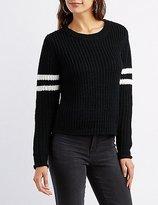 Charlotte Russe Shaker Stitch Varsity Stripe Sweater