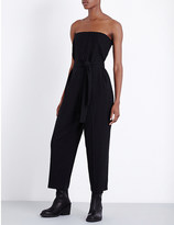 McQ by Alexander McQueen Strapless dropped-crotch stretch-wool jumpsuit