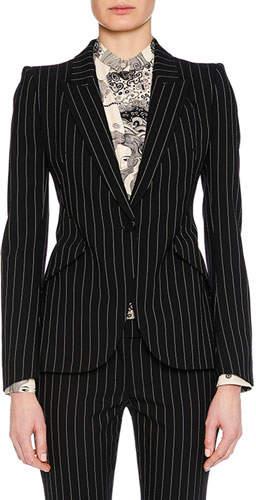 Alexander McQueen Peak-Lapel Single-Breasted Pinstripe Classic Blazer