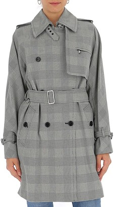 Max Mara Checked Belted Trench Coat