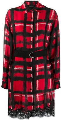 Ermanno Ermanno Belted Hand-Painted Check Shirt Dress