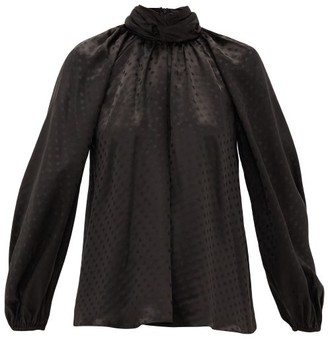 Zimmermann Spot-jacquard Silk Blouse - Black