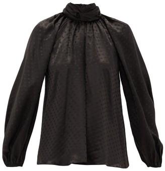 Zimmermann Spot-jacquard Silk Blouse - Womens - Black