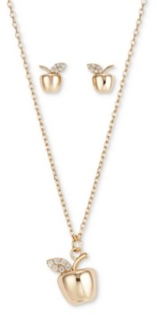 Unwritten Fine Silver Plated 2-Pc. Set Cubic Zirconia Apple Pendant Necklace & Matching Stud Earrings in Gold