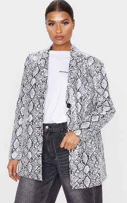 PrettyLittleThing White Faux Leather Oversized Dad Blazer
