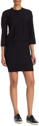 James Perse Solid 3/4 Sleeve Blouson Dress
