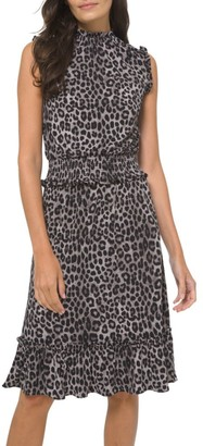 MICHAEL Michael Kors Leopard-Print Smocked Dress