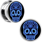 Body Candy Stainless Steel Blue Sugar Skull Screw Fit Plug Pair 5/8""