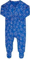 Stella McCartney Monster-Face-Print Footed Pajamas-BLUE