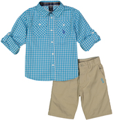 U.S. Polo Assn. Teal Plaid Button-Up Twill Shorts