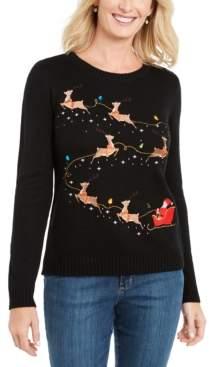 Karen Scott Petite Santa's Sleigh Sweater, Created For Macy's