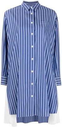 Sacai Pleated Sides Striped Shirt Dress