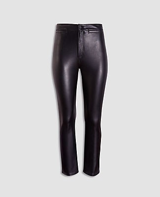 Ann Taylor Petite Faux Leather High Waist Kick Crop Jeans