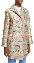 Etro Floral-Jacquard Single-Breasted Coat, Light Blue/Silver/Green/Peach