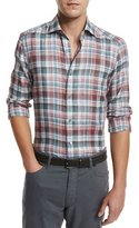 Ermenegildo Zegna Plaid Linen Sport Shirt, Medium Red Check