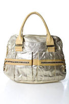 See by Chloe Metallic Gold Beige Perforated Extra Large Satchel Handbag
