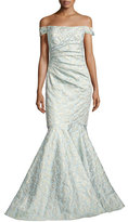 Badgley Mischka Off-the-Shoulder Jacquard Siren Gown, Light Blue