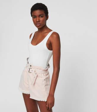 AllSaints Hannah Paperbag High-Rise Denim Shorts