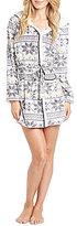 Kensie Holiday Snowflake Fair Isle Microfleece Hooded Wrap Robe