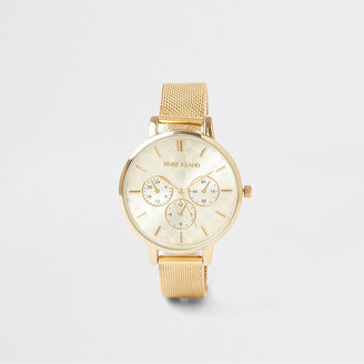 River Island Gold colour mesh strap RI watch