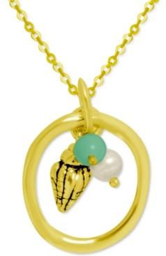 """Kona Bay Freshwater Pearl (4mm) Bead & Shell Charm Pendant Necklace in Gold-Plate, 16"""" + 2"""" extender"""