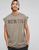 Asos Super Oversized Sleeveless T-Shirt With Military Print In Khaki
