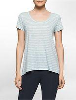 Calvin Klein Womens Performance Cutout Back Short-Sleeve High Low T-Shirt