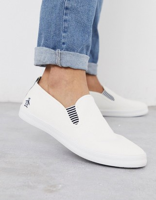 Original Penguin side stripe slip on plimsoll in white