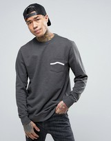 Vans Side Stripe Pocket Crew Sweatshirt In Gray VA391S2PI