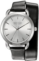 SO&CO New York Women's 5086.1 SoHo Quartz Black Genuine Leather Wrap Around Strap Watch