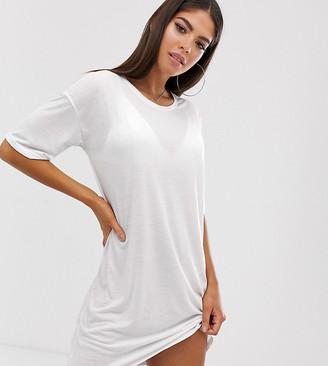 Noisy May Tall back logo t-shirt dress-White