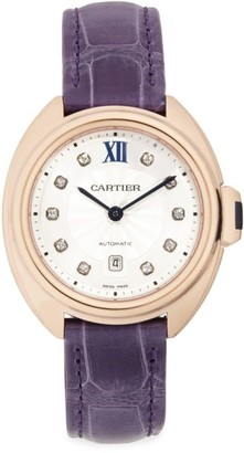 Cartier Cle de Diamond, 18K Rose Gold & Aubergine Alligator-Strap Watch