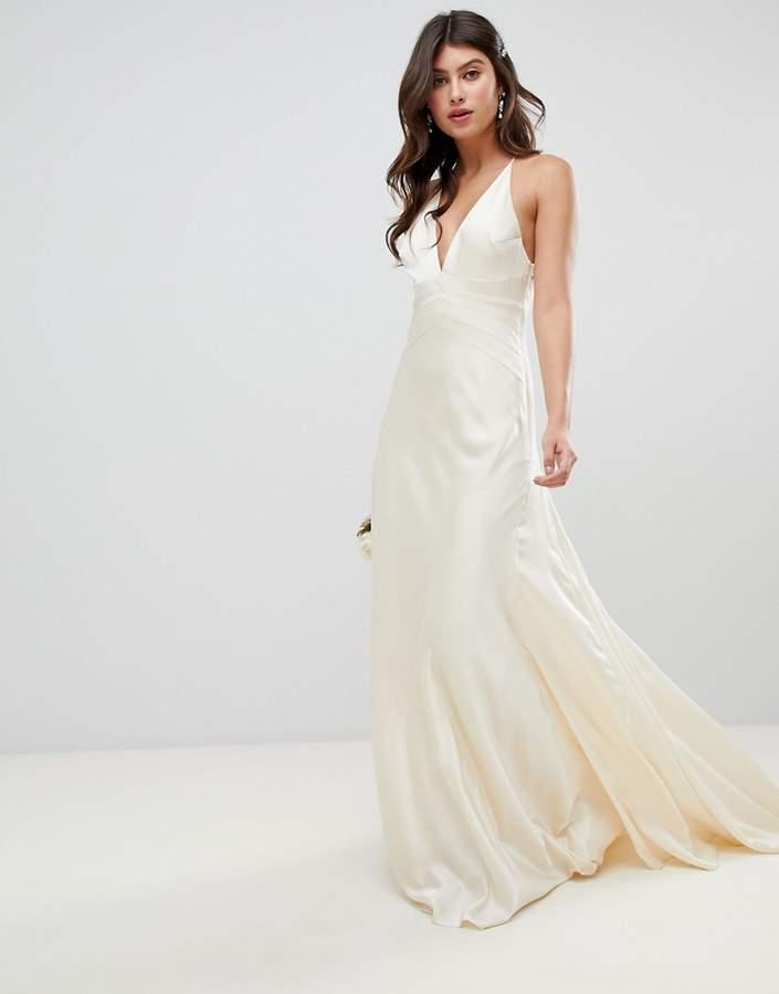 Asos Edition EDITION satin paneled wedding dress with fishtail